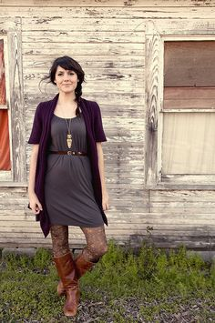 Patterned tights, skinny belt, basic dress, and a layered cardi. This is perfect for fall!