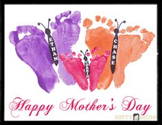 Toddler Footprint Butterflies – Mother's Day Gift Idea A fun finger painting picture for toddlers and babies is footprint butterflies with different colors. It makes a perfect Mother's Day gift. Great Mothers Day Gifts, Fathers Day Crafts, Happy Mothers Day, Mother Day Gifts, Baby Crafts, Toddler Crafts, Crafts For Kids, Preschool Crafts, Fille Au Pair