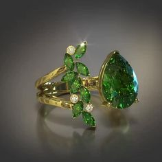 Beautiful Emerald Ring in Yellow Gold. Veto Petal Ring Collection now available for pre-order. Emerald Ring Gold, Sapphire Jewelry, Diamond Jewelry, Gemstone Jewelry, Jewelry Rings, Jewelry Art, Yellow Diamond Rings, Green Rings, Gold Rings Jewelry