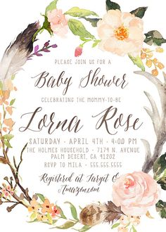 Woodland Baby Shower Invitation, Girl, Antler, Feather, Watercolor, Flower, Deer Baby Shower Invite, Printable