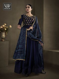 Rs3,550.00 Latest Anarkali Suits, Latest Sarees, Blue Satin, Silk Satin, Floor Length Anarkali, Royal Dresses, Designer Anarkali, Anarkali Dress, Navy Blue Color