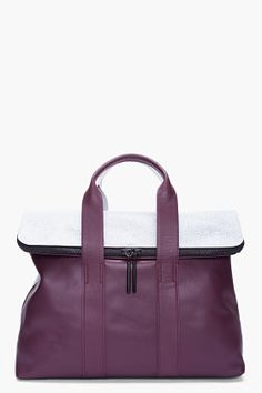 3.1 Phillip Lim 31 Hour Bag in Aubergine/White. Love this color combination!