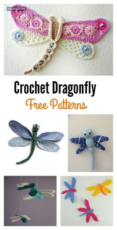 Crochet Amigurumi Patterns Free Crochet Dragonfly Patterns - These crochet dragonflies are really marvelous. You can make one or more in your next crochet project with these Free Crochet Dragonfly Patterns. Crochet Dragonfly Pattern, Crochet Motifs, Crochet Flower Patterns, Thread Crochet, Crochet Designs, Crochet Dolls, Crochet Appliques, Knitted Dolls, Crochet Applique Patterns Free