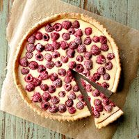 Raspberry Cream Tart — bakes in a crust of refrigerated cookie dough. Recipe: http://www.midwestliving.com/recipe/tarts/raspberry-cream-tart/