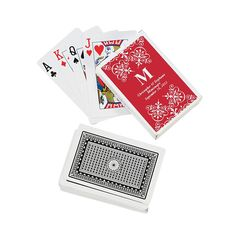 Red Personalized Monogram Wedding Playing Cards - OrientalTrading.com