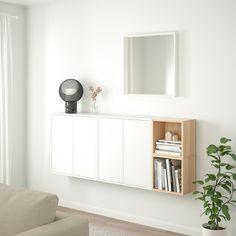 EKET Wall-mounted cabinet combination - white, white stained oak effect - IKEA Ikea Wall Cabinets, Ikea Wall Shelves, Wall Cabinets Living Room, Ikea Eket, Flexible Furniture, White Stain, New Furniture, Furniture Cleaning, Furniture Websites