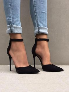 Shop Fashion ankle strap stiletto pumps - Discover sexy women fashion at Bou . - Shop Fashion ankle strap stiletto pumps – Discover sexy women fashion at Boutiquefeel Informations - High Heels Boots, Black High Heels, Lace Up Heels, Ankle Strap Heels, Ankle Straps, Black Boots, Black Stilettos, Black Heels With Strap, High Heels With Jeans