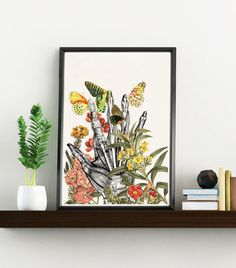 Take my hand white art Print- A4 Wall art. Human anatomy  print - Chic Science prints wall art Human anatomy and flowers art WSK088 (9.99 USD) by PRRINT