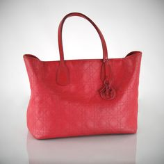 CHRISTIAN DIOR Panarea Lady Dior Coral Red Canvas Rubber Leather Tote Bag Purse #ChristianDior #TotesShoppers