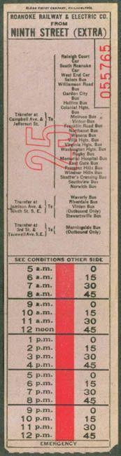 Transfer from Roanoke (Virginia) Rwy. & Electric Co. (date unknown)