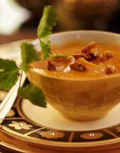 Roasted Pumpkin Soup with Spiced Pecans