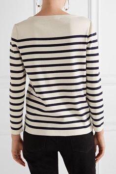 Marc Jacobs - Embellished Striped Cotton And Cashmere-blend Sweater - Cream - x small