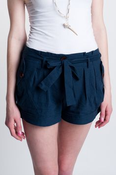 Navy Linen Shorts with Wooden Buttons and Tie :)