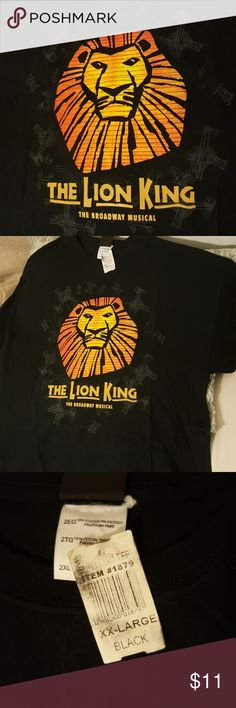 Lion King Broadway T-shirt 2xl Straight from the merch table at The Lion King on Broadway, never worn, BNWT.   Black  BNWT Disney Tops Tees - Short Sleeve