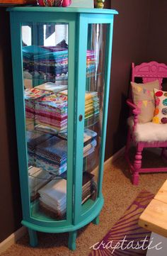 What a fantastic idea for fabric storage. I have always thought curio cabinets were useless, but this is actually a great idea! Must find a curio cabinet:o) craft storage Furniture Projects, Furniture Making, Furniture Makeover, Diy Furniture, Furniture Websites, Inexpensive Furniture, Furniture Online, Furniture Design, Quilt Storage