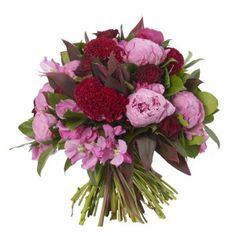 Celosia And Peonie Bouquet - Jules Elie Peonies, Cerise Celosia, Light Pink Sweet Peas and Grand Prix Roses