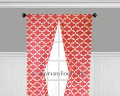 Coral Curtains Quatrefoil Lattice Trellis Panels Window Treatments Geometric Curtains Custom Living Room Custom Drapes by SewManyLinens on Etsy https://www.etsy.com/listing/399646163/coral-curtains-quatrefoil-lattice