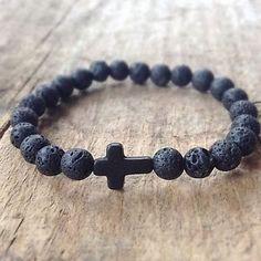 Charm-Mens-Lava-Rock-Stone-Turquoise-Cross-Beaded-Elastic-Bracelet-Yoga-Jewelry