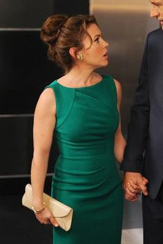 Savi's green curve-pleated dress on Mistresses.  Outfit Details: http://wornontv.net/17243/ #Mistresses