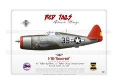 """P-47D """"Thunderbolt"""" 39 Red Tails GM-56 - AviationGraphic.com"""