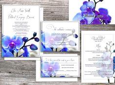 WEDDING INVITATIONS printable templates - Santa Clara Blue Orchid Suite (invitation and rsvp card) by Elisa H.