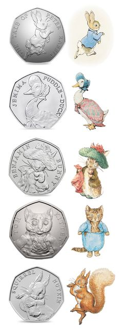 Your Change For These Beatrix Potter Coins Check your change and you might be lucky enough to find one of these RARE Beatrix Potter Coins!Check your change and you might be lucky enough to find one of these RARE Beatrix Potter Coins! Rare British Coins, Rare Coins, Baby Wallpaper, Beatrix Potter Illustrations, Beatrice Potter, Peter Rabbit And Friends, 50p Coin, Coin Worth, Easter Pictures