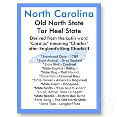 saw a North Caroline license plate the other day--North Carolina ...