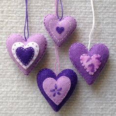 Felt heart ornaments in lavender purple and white. by Lucismiles, $13.00