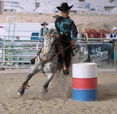 Model horse Barrel racing - nice addition of faux dirt.