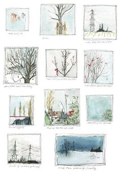 "small winter scenes ~ artist ohbara #journal- great idea to paint "" inchies"" on a page."