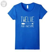 Women's Twelve And Awesome 12th Birthday Gift T-Shirt Small Royal Blue - Birthday shirts (*Amazon Partner-Link)