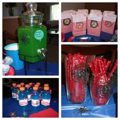 decorations, dessert, Spiderman party