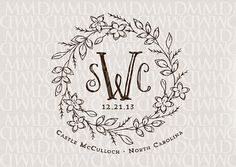 Cuento cuentos monograma Floral en corona de boda - boda Logo - cresta de la boda - boda de cuento de hadas