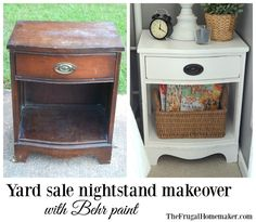 Yard sale nightstand makeover with Behr paint.  (via  http://thefrugalhomemaker.com/2015/10/30/paint-something-yard-sale-nightstand-makeover-with-behr-paint/)