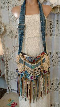 Handmade-Denim-Vintage-Lace-Cross-Body-Bag-Hippie-Crochet-Fringe-Purse-tmyers Source by Bags purses Artisanats Denim, Denim Purse, Fringe Purse, Fringe Bags, Denim Bags From Jeans, Hippie Purse, Hippie Bags, Boho Bags, Denim Vintage