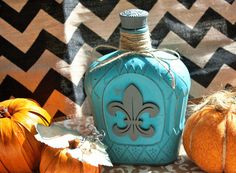 Beautiful Shabby Chic Decorative Bottle, Painted & Distressed Teal / Turquoise, Fleur Des Lis by PraiseThruArt on Etsy https://www.etsy.com/listing/252303118/beautiful-shabby-chic-decorative-bottle