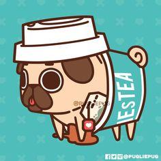 The official Puglie Pug website and store! Cute Animal Drawings Kawaii, Cute Little Drawings, Cute Cartoon Drawings, Kawaii Art, Pug Wallpaper, Wallpaper Iphone Cute, Cute Wallpapers, Cat And Dog Drawing, Corgi Drawing