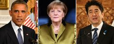 Barack Obama (Mike Theiler-Pool/Getty Images); Angela Merkel (Adam Berry/Getty Images); Shinzo Abe (Fiona Goodall/Getty Images)