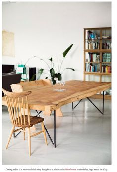 Redwood slab dining table with legs from Etsy.