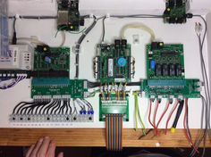 Digitrax BDL168, PM42, DS64 and CML SIGM20 boards wired up on DCC drawer