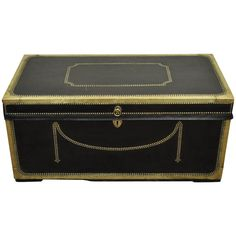 19th Century English Campaign Trunk or Chest of Camphor Wood in Leather & Brass   From a unique collection of antique and modern blanket chests at https://www.1stdibs.com/furniture/storage-case-pieces/blanket-chests/
