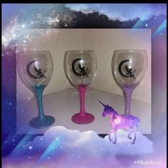 Fairy glitter glasses, magical themed, crescent moon wine glasses. #fairyglitterwineglasses #decoratedwineglasses #magicalthemedgifts Troll, Glitter Wine Glasses, Decorated Wine Glasses, Fairy Coloring, Fairy Dust, Fantasy, Handmade Decorations, Red And Pink, Light In The Dark