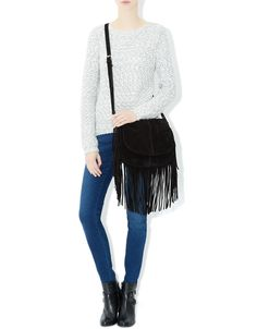 Leather Fringe Saddle Bag | Black | Accessorize
