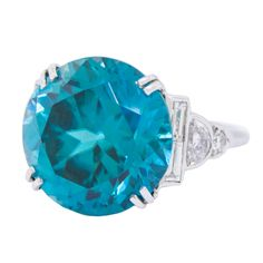 Art Deco 13 Carat Blue Zircon & Diamond Ring. Circa 1925   From a unique collection of vintage solitaire rings at http://www.1stdibs.com/jewelry/rings/solitaire-rings/