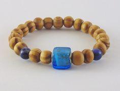 Beaded bracelet,Brown wood beads,blue glass,sodalite,Men Women, gift for holiday