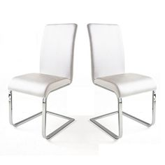 Lotte I Dining Chair In White Faux Leather in A Pair