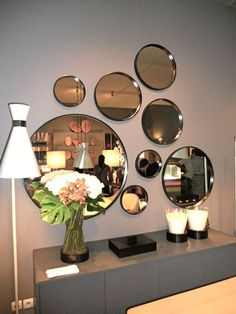 marvelous mirror wall decoration ideas that inspired you 6 < Home Design Ideas Dining Room Mirror Wall, Living Room Mirrors, Mirror Wall Art, Room Wall Decor, Living Room Decor, Wall Mirror Ideas, Mirror Bedroom, Dining Decor, Mirror Set