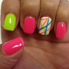 colorful nail art ideas for summer 2015 Neon Nails, Bright Nails, Diy Nails, Manicure, Summer Gel Nails, Spring Nails, Fancy Nails, Cute Nails, Colorful Nail Art