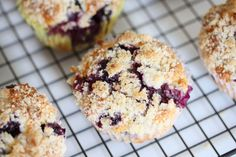Delicious, crumb-topped Blueberry Muffins.  These are so good, even the cat wanted one!  I made mine with 1/2 cup Greek yogurt, and they came out so moist and yummy.  Works with blackberries or even diced up peaches, too.