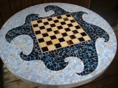 Mosaic Table Top Stained Glass Chess board by TRWmosaics on Etsy,